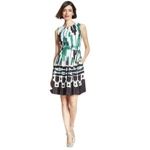 Ellen Tracy Fit & Flare A-line Scarf Print Dress